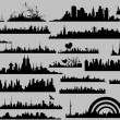 Conceptual Skyline Silhouettes Collection — Stock Vector
