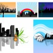 Stock Vector: Modern City Skylines Illustration