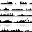 Black Shape Cityscape Silhouettes Designs - Stock Vector