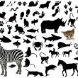 Various Collection Of Different Type Animal Silhouettes — Stock Vector