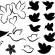 Cute Comic Birds Shapes Silhouettes — Stock Vector