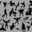 Abstract Design Of Witch Silhouettes Set - Stock Vector