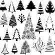 Vintage Design Christmas Trees Collection — Stock Vector