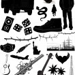 Stock Vector: Conceptual Design Urban Tattoos Silhouettes