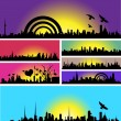 Colorful Decorative Skyline Collection — Stock Vector