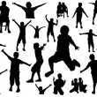 Stock Vector: Happy Kids Action Silhouettes