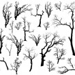 Large Collection Of Dead Trees Silhouettes Set — Stock Vector