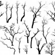 Stock Vector: Isolated Dead Trees Set