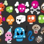 Funny Cartoon Skulls Collection — Stock Vector #6126332