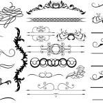 Swirl Spiral Vintage Divider Elements Set — Stock Vector