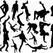 Human Action Silhouettes — Stock Vector