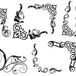 Abstract Design Of Spiral Corner Set — Stock Vector