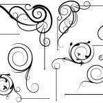 Spiral Swirl Design Corner Set — Stock Vector