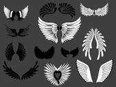 Vector Set Of Creative Wings Illustration — Stock Vector
