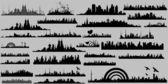 Conceptual Skyline Silhouettes Collection — Stock Vector