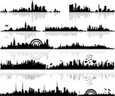 Black Shape Cityscape Silhouettes Designs — Stock Vector