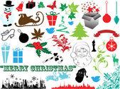 красивые рождественские декоративные художественные элементы — Cтоковый вектор