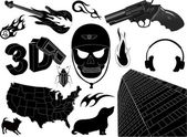 Urban Funky Style Tattoos Collection — Vector de stock