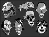 Ilustracja na białym tle czaszki twarze — Wektor stockowy
