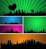 Decorative Skyline Design Set — Vector de stock