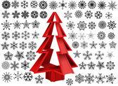 Sapin de noël décoratif n flocons de neige — Vecteur