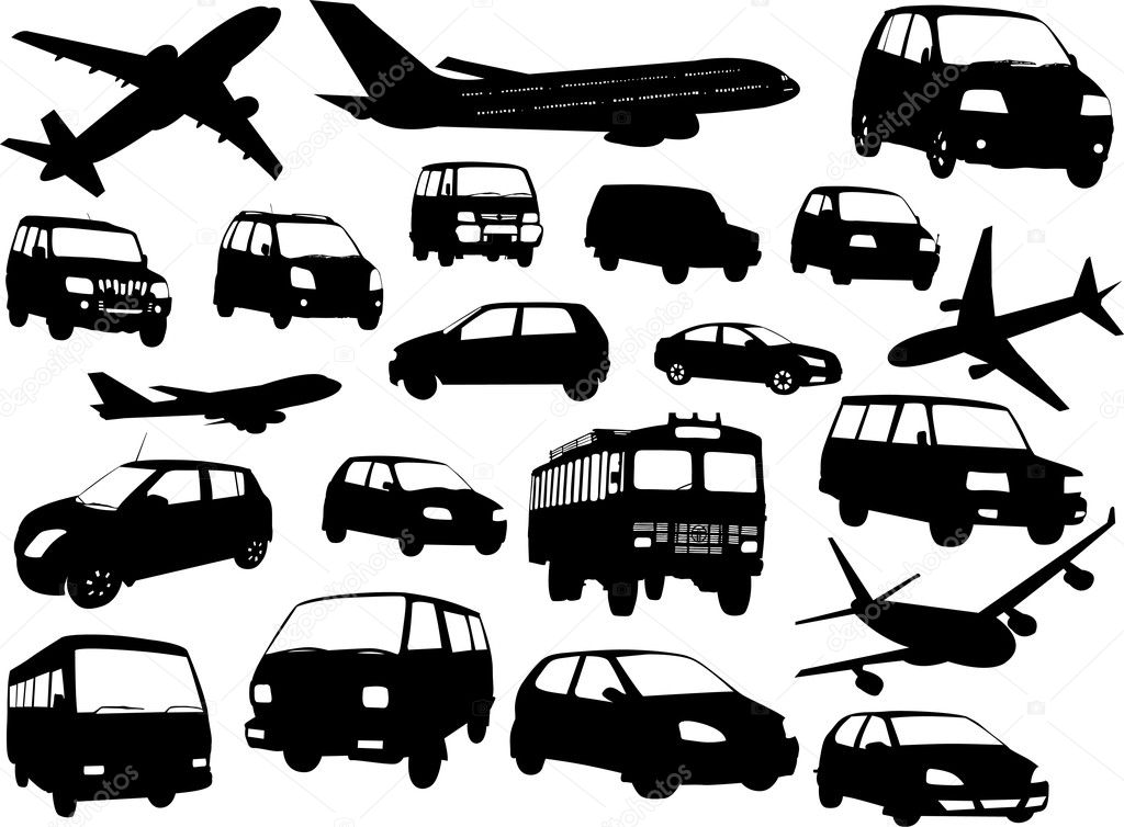 Creative Decorative Collection Of Transport Vehicle Silhouettes Designs — Stock Vector #6123027