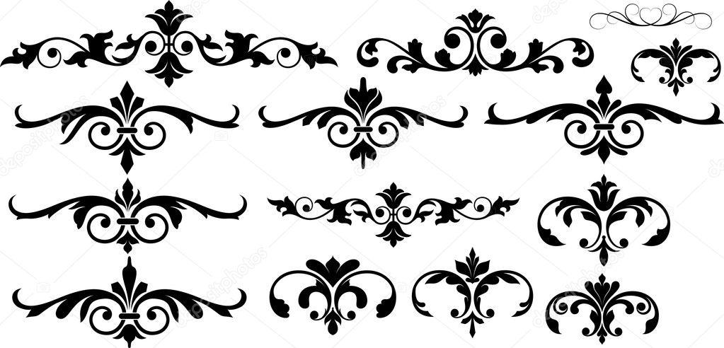conceptual floral set elements stock vector baavli 6123529. Black Bedroom Furniture Sets. Home Design Ideas
