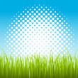 Artistic Halftone Background with Green Leaf Grass — Stockvektor