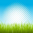 Artistic Halftone Background with Green Leaf Grass — Векторная иллюстрация