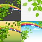 Beautiful Green Leaf Rainbow Background — Stock Vector
