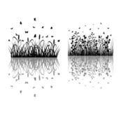 Foliage Grass Silhouettes — Stock Vector