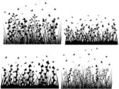 Abstract Grass Silhouettes — Stock Vector
