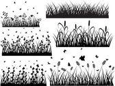 Set van oude gras silhouetten — Stockvector