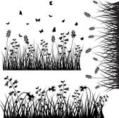 Set Of Flourish Grass Silhouettes Elements — Stock Vector