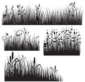 Decor Style Black Shape Floral Grass — Stock Vector