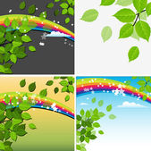 Beautiful Green Leaf Rainbow Background — Stock Vector