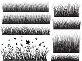 Black Shape Grasses With Insect — Stock Vector