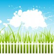 Royalty-Free Stock Vector Image: White Fence On Green Grass