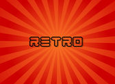 Red Sunburst Design With Retro Text — Stock Vector