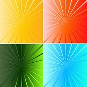 Collezione colorata sunburst — Vettoriale Stock