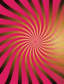 Red Halftone Swirl Sunburst Background — Stock Vector