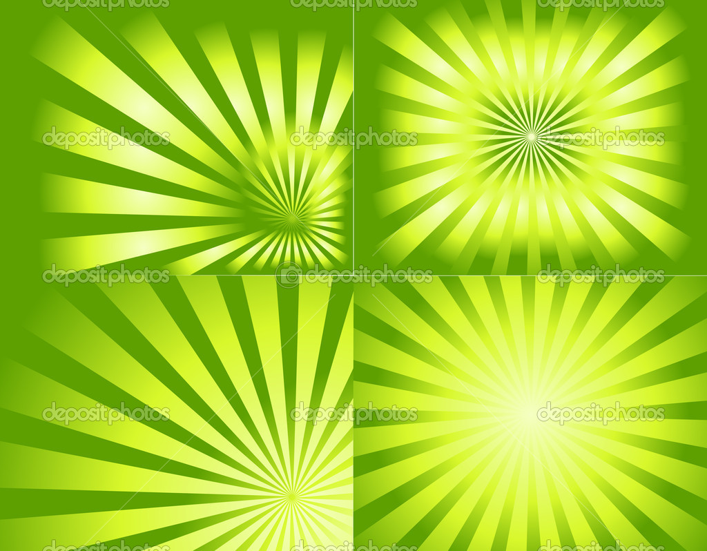 Creative Abstract Artistic Decor Design Retro Green Sunburst Background — Stock Vector #6681382