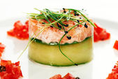 Salmon fish dish decorated — Stock Photo