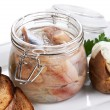 Herring salt fillet in the glass jar — Stock Photo #6521272