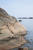 Norway, glacial polished rocks by the sea — Stock Photo