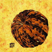 Ornamental pumpkin collage — Stock Photo