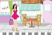 Zakupy girl — Wektor stockowy