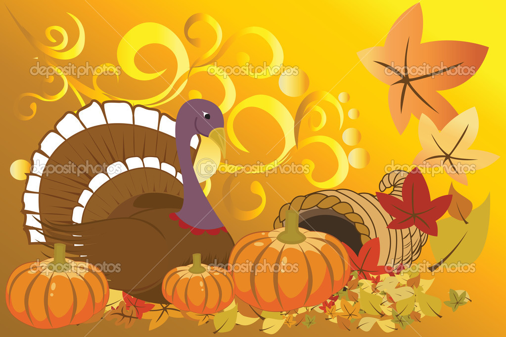 Vector illustration of turkey and pumpkins for Thanksgiving celebration — Stock Vector #6207229
