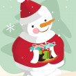 Snowman carrying christmas gifts — Stock Vector
