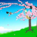 Cherry blossoms illustration — Stock Vector